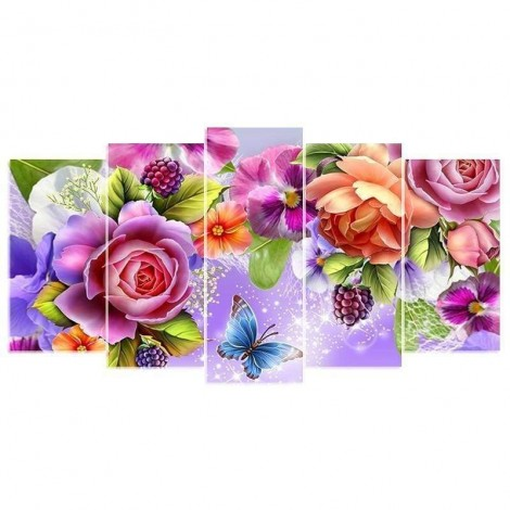 Full Drill - 5D DIY Diamond Painting Kits Blooming Flowers Butterfly Multi-picture