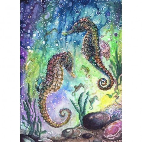 Full Drill - 5D DIY Diamond Painting Kits Cartoon Seahorses in the Sea