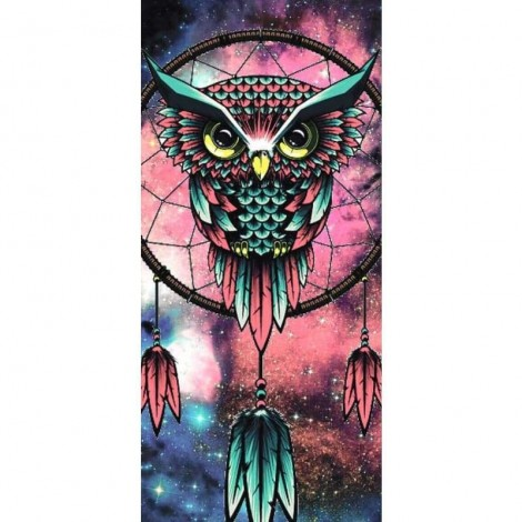 Pink And Blue Owl Dreamcatcher- Full Drill Diamond Painting Abstract