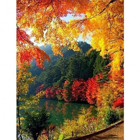 Landscape Autumn Mountain Lake Picture Diy Full Drill - 5D Crystal Diamond Painting Kits