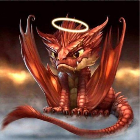 Full Drill - 5D DIY Diamond Painting Kits Special Red Dragon Baby Angel